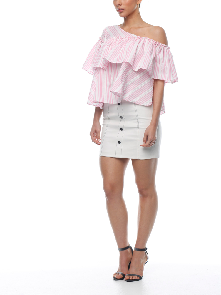 Rosa Ruffle Top - Candy - ZEKA MANFRED