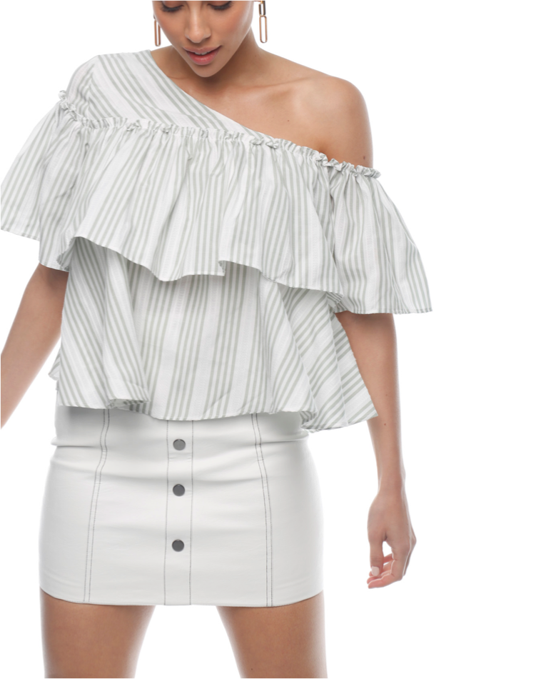 Rosa Ruffle Top - Sage - ZEKA MANFRED
