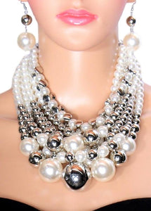 Silver and Pearl Layer Necklace