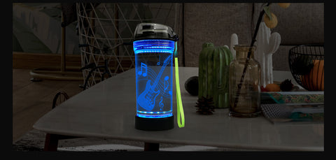 3D Glowing Electric Guitar Water Bottle
