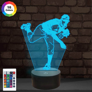 Baseball Pitcher 3D Illusion Lamp