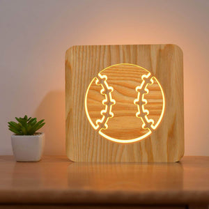Baseball Wooden Lamp