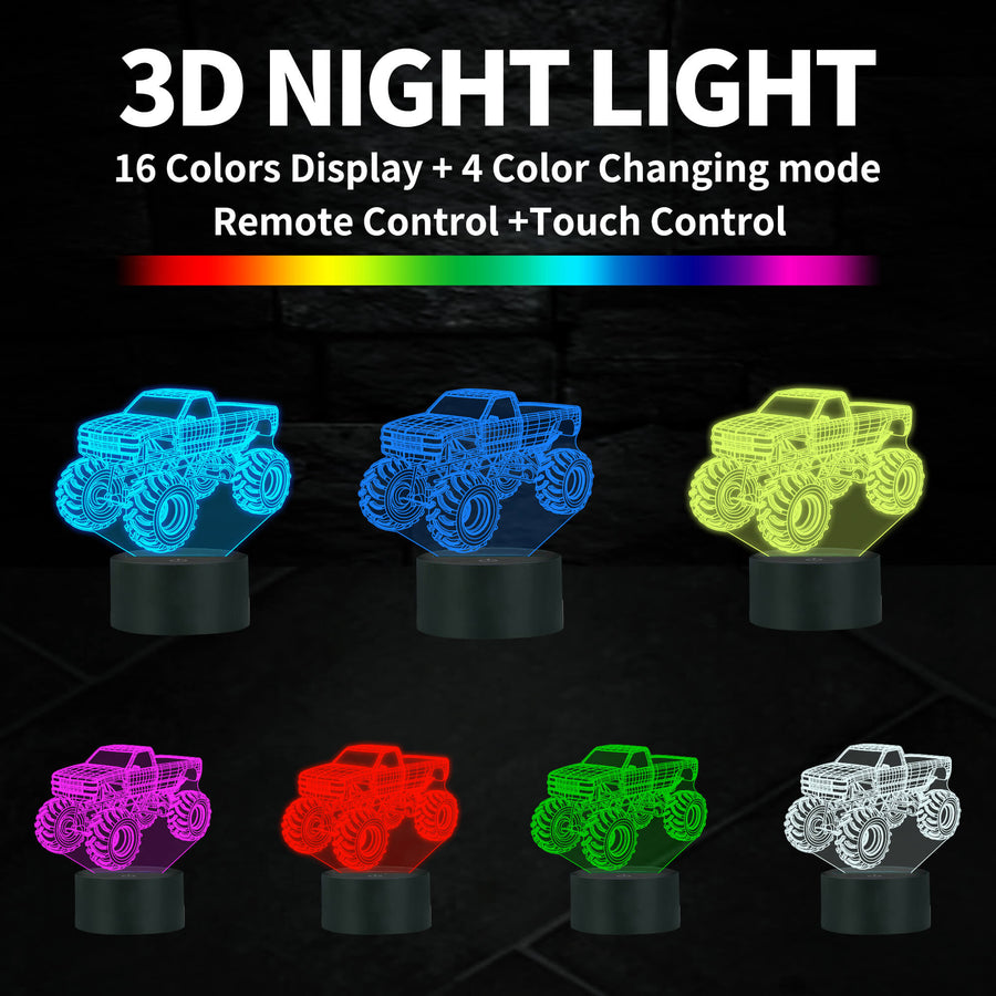 Cool Monster Truck 3D Illusion Lamp