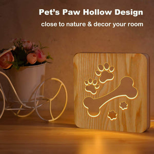 Dog Bone & Paw Wooden Lamp