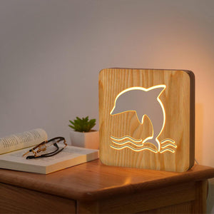 Dolphin Wooden Lamp