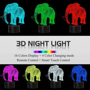 Elephant 3D Illusion Lamp