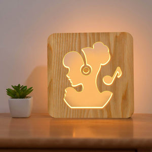 Girl Listen Music Wooden Lamp