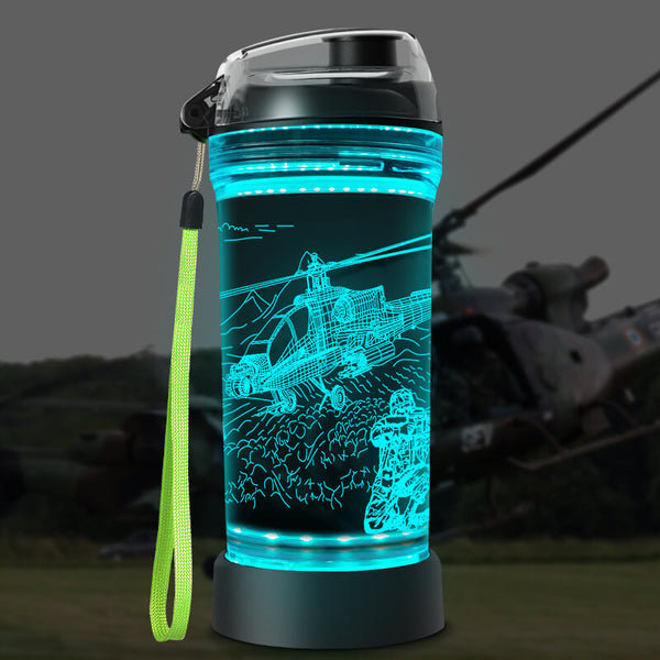 Helicopter 3D Glowing Water Bottle