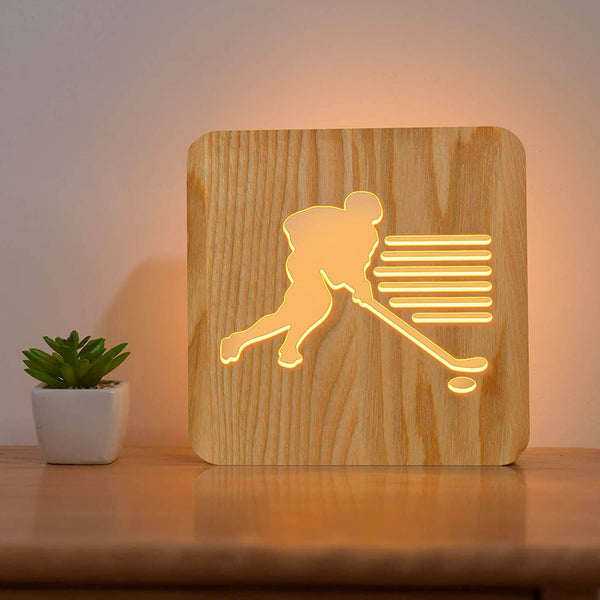 Ice Hockey Wooden Lamp