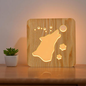 Howl Wolf Wooden Lamp