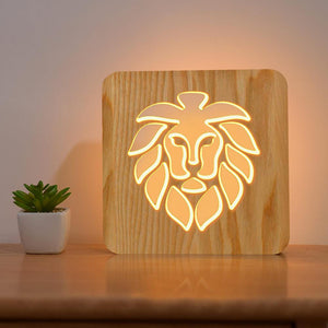 Lion Wooden Lamp