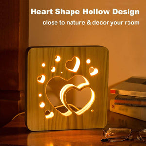 Love Heart Wooden Lamp