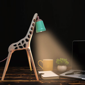 Modern Cute Animal Giraffe Adjustable Wooden Lamp