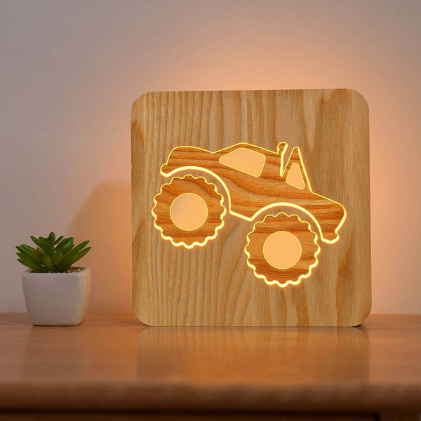 Monster Truck Wooden Lamp