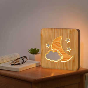 Moon Cloud Wooden Lamp