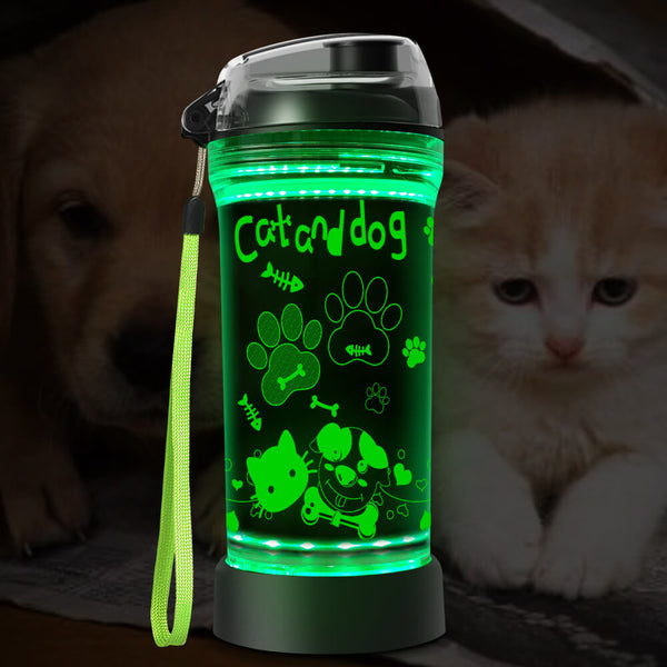 Cat & Dog Paw 3D Glowing Water Bottle