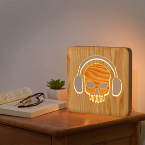 Skull Headphone Wooden Lamp