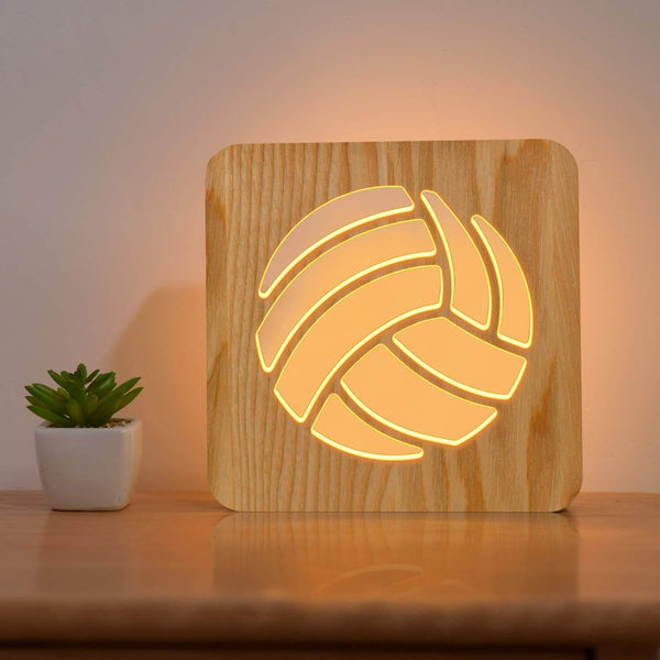 Volleyball Wooden Lamp