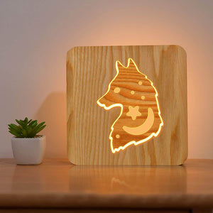 Wolf Wooden Lamp