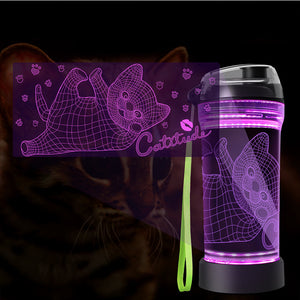 Catitude 3D Glowing Water Bottle