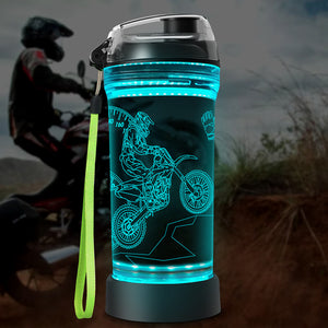 Dirt Bike 3D Glowing Water Bottle