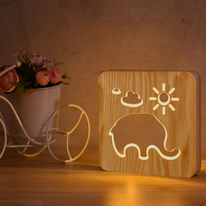 Elephant Wooden Lamp