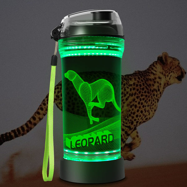Leopard 3D Glowing Water Bottle  NEW