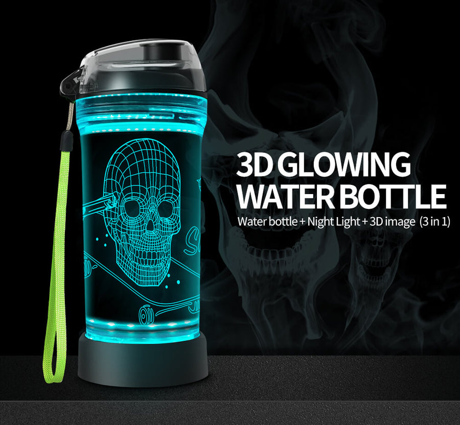 Skull 3D Glowing Water Bottle
