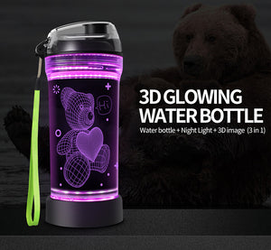 Teddy Bear 3D Glowing Water Bottle