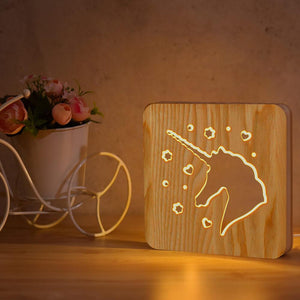 Unicorn Wooden Lamp
