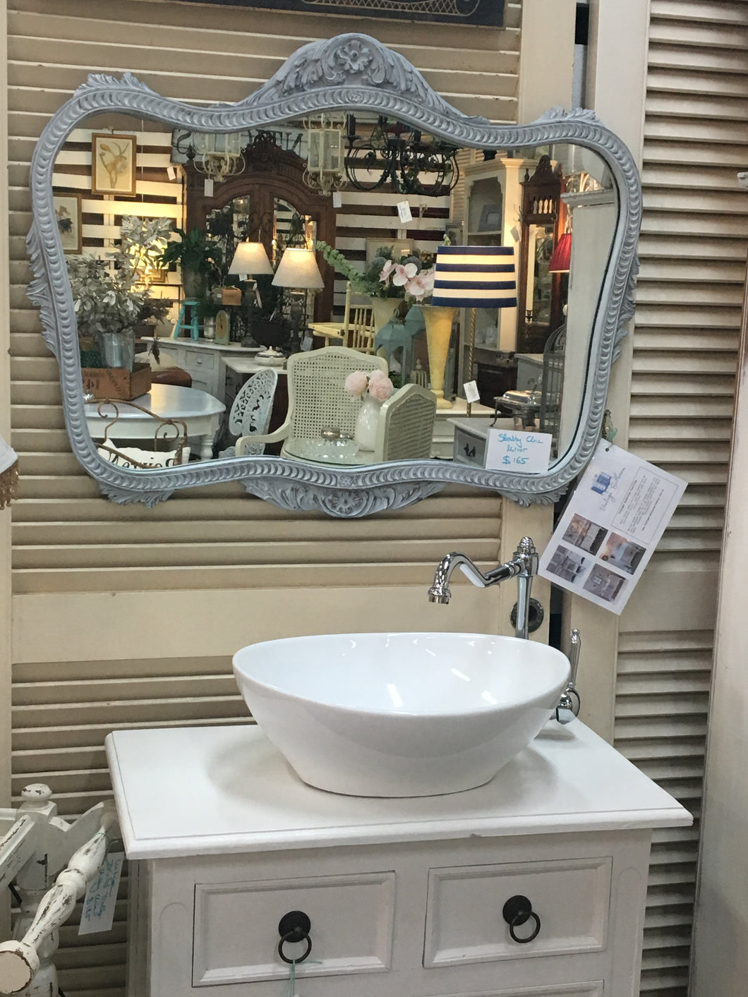 - SOLD - White washed french grey vintage Mirror