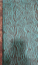"Load image into Gallery viewer, 18"" Glitter Pattern Heat Transfer Vinyl- Teal Zebra Print"
