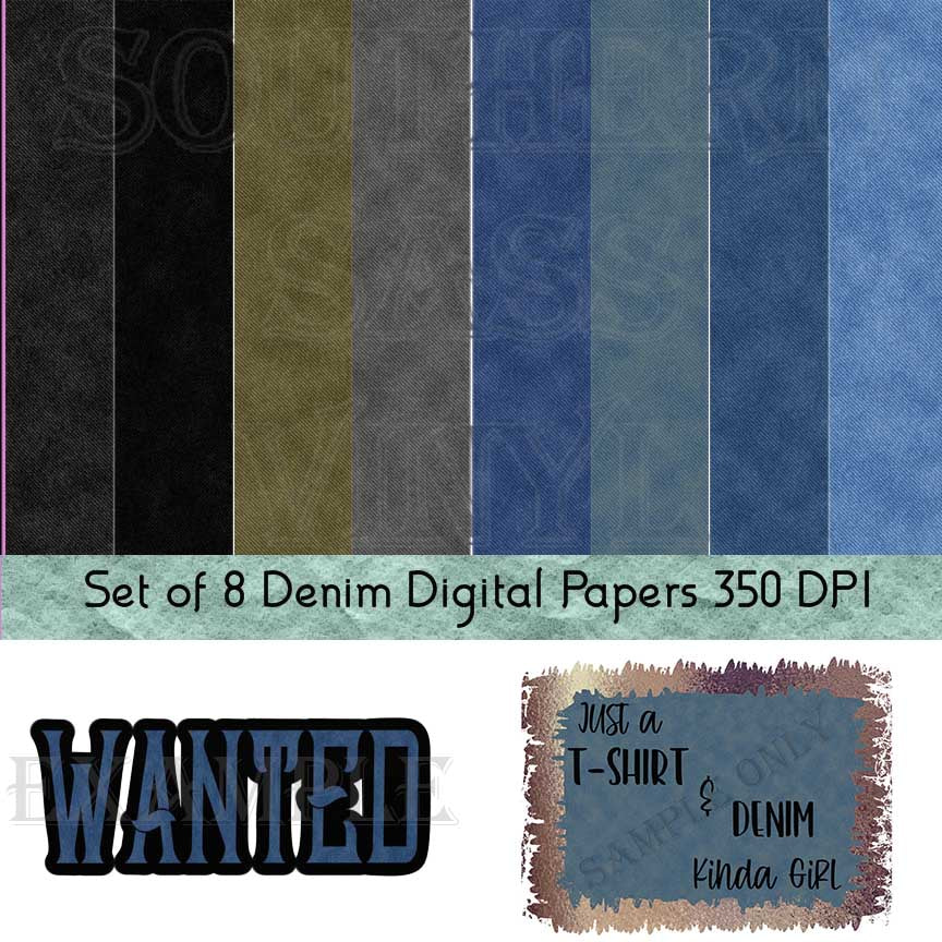 Denim and Jeans Digital Paper Set - Digital Download (Sublimation, Heat Transfer, HTV, Graphic Designs, Clip Art, Commercial Use)