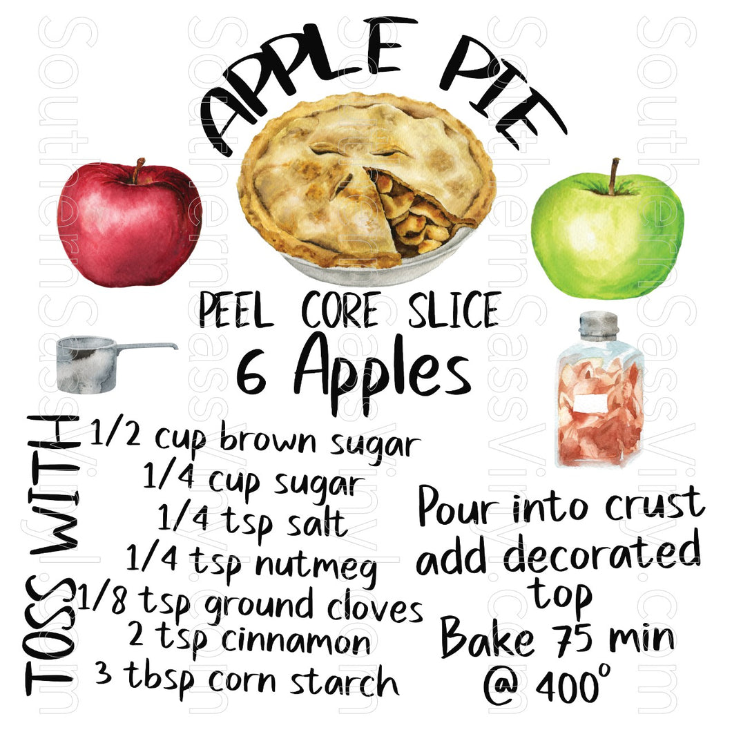 Apple Pie Recipe- Digital Download