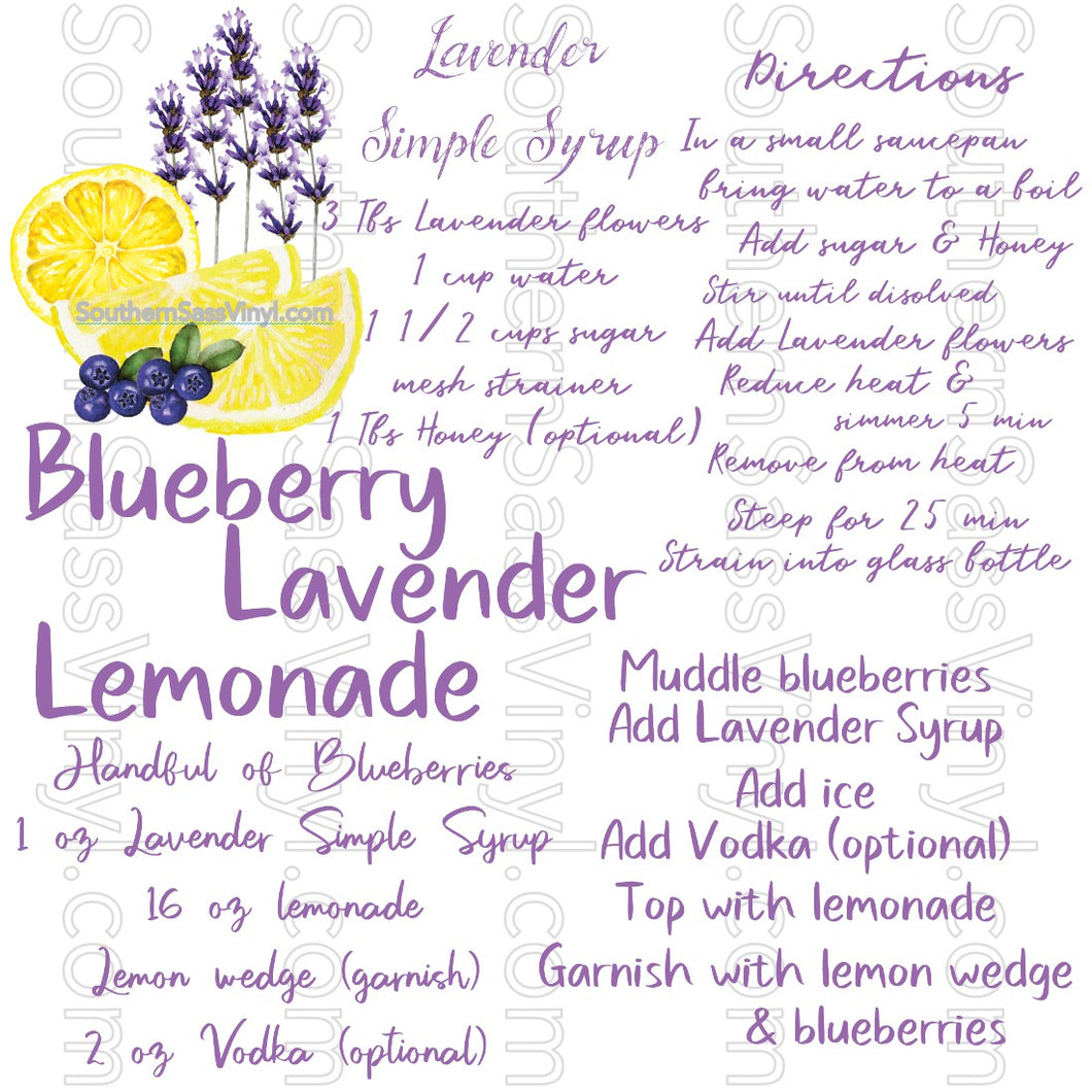 Blueberry Lavender Lemonade Recipe- Digital Download