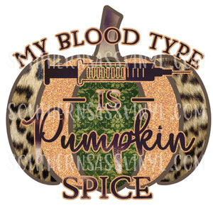 Pumpkin Spice Blood Type- PNG Clip Art Instant Digital Download