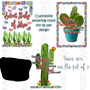 Cactus Succulent Baby Design- Ready To Press Transfers