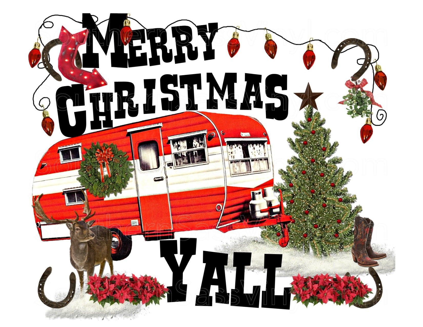 Merry Christmas Yall.Merry Christmas Yall Red Ready To Press Transfer