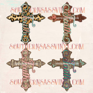 Faith Cross Design Elements - Digital Download (Sublimation, Heat Transfer, HTV, Graphic Designs, Clip Art, Commercial Use)