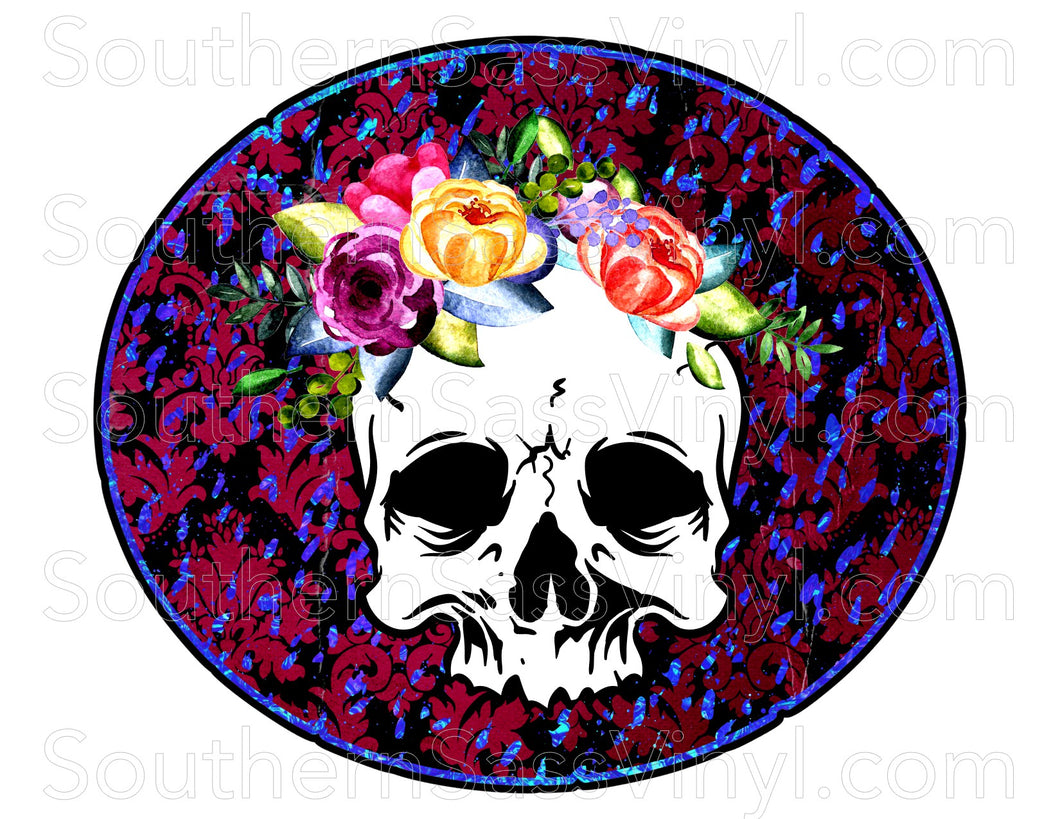 Flower Skull- Ready To Press Transfer
