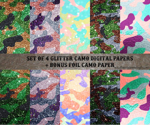 Set of 4 Glitter Camo Papers - Digital Download (Sublimation, Heat Transfer, HTV, Graphic Designs, Clip Art, Commercial Use)