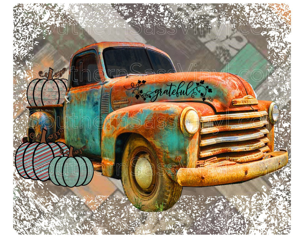 Fall Pumpkin Truck- Full Color Ready To Press Transfers