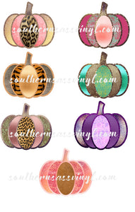 Set of 7 Pumpkin Design Elements - Digital Download (Sublimation, Heat Transfer, HTV, Graphic Designs, Clip Art, Commercial Use)