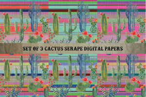 Set of 3 Cactus Serape Digital Papers - Digital Download (Sublimation, Heat Transfer, HTV, Graphic Designs, Clip Art, Commercial Use)