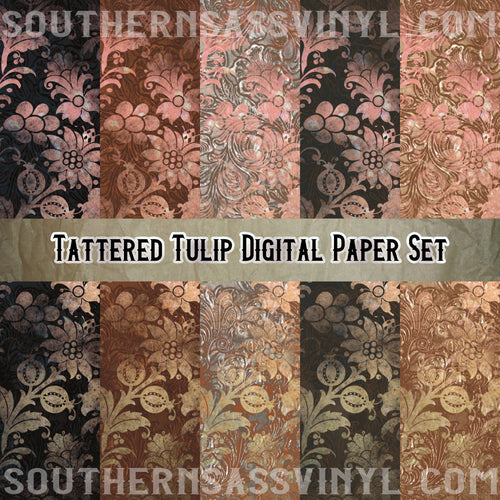 Tattered Tulip Digital Paper Set - Digital Download (Sublimation, Heat Transfer, HTV, Graphic Designs, Clip Art, Commercial Use)