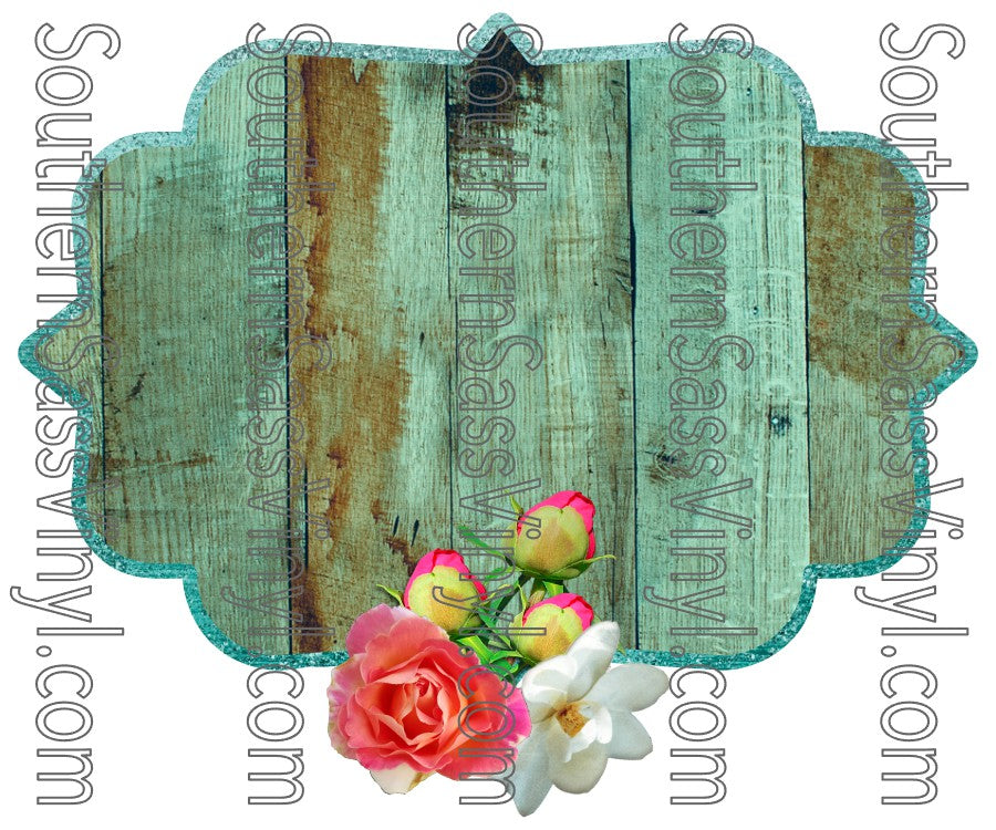 Teal Wood and Floral Frame- PNG Clip Art Instant Digital Download