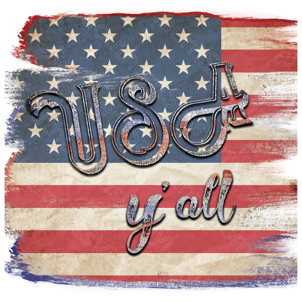 USA Y'all- Digital Download PNG Clipart Graphic