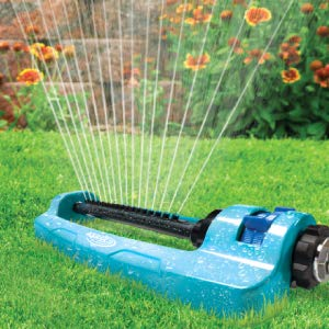 Sun Joe SJI-OMS16 Indestructible Metal Base Oscillating Sprinkler with Adjustable Spray