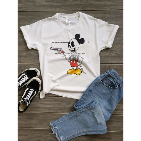 Mickey Mouse Skull Funny t-Shirt