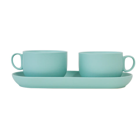 House of Jay | Breakfast Cups With Tray - Turquoise | Homeware Gift | Same Day Delivery